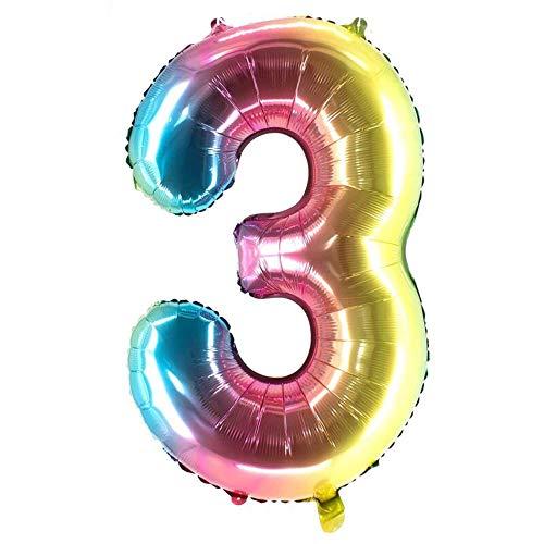 Party Factory XXL Folienballon Zahl 3, Luftballon 100cm, multicolour, Geburtstag, Abi, Jubiläum, Party Ballon, Heliumballon, Deko