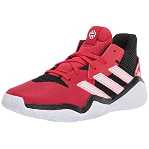 adidas unisex child Harden Stepback Basketball Shoe, Core Black/Scarlet/Ftwr White, 7 US