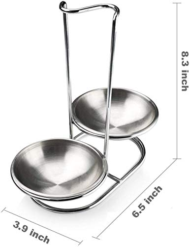 GoldNJade 304 Stainless Steel Double Ladles Holder Vertical Spoon Rest Cooking Utensils Stand Silver