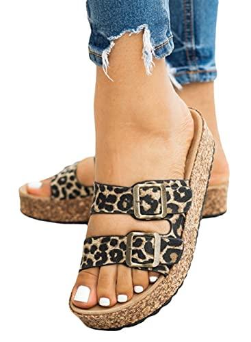 CORAFRITZ Zapatos de playa con estampado de leopardo de moda para mujer, zapatos de piscina, correa de hebilla con puntera abierta