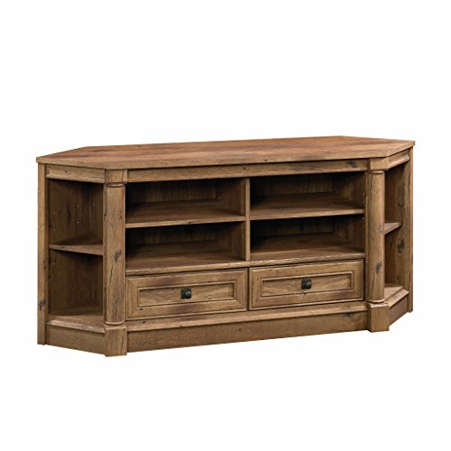 "Sauder Palladia Corner Entertainment Credenza, For TVs up to 60"", Vintage Oak Finish"
