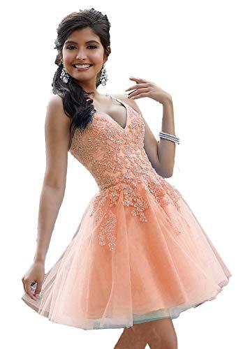 BetterGirl Damen V-Ausschnitt Abendkleider Kurz Spitze Applikationen Ballkleider Abschlussballkleider Homecoming Kleider(Pfirsich,46)