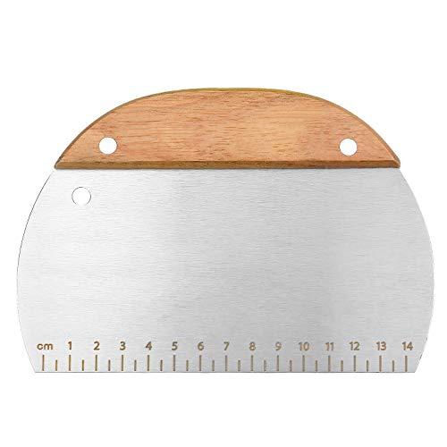 Teigschaber Teigschneider aus Edelstahl, mit Holzgriff, Teigspachtel Schaber für Backen Kuchen Teig Zubereitung