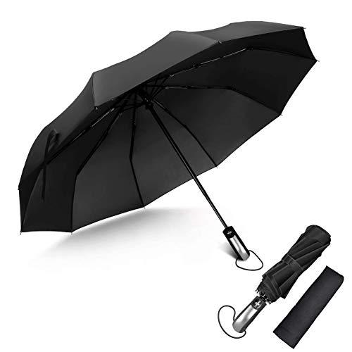 Automatischer Windschutz zum Öffnen/Schließen, tragbarer Regenschirm mit ergonomischem Griff, UV-Schutz, Faltbarer, 10-Rippen-verstärkter winddichter Regenschirm (Geheimnisvolles Schwarz)