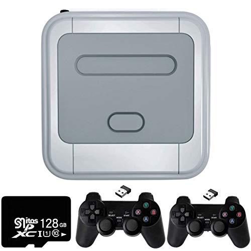 Bias&Belief Consola de Juegos Retro, Consolas de Videojuegos, Emulador de Super Consola con Tarjeta SD de 128GB, 2 Controladores Inalámbricos, Salida AV y HDMI, Conexión WiFi y LAN