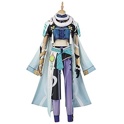 Xin Hai Yuan Genshin Liyue Harbor Baizhu Juego de cosplay Baizhu Trajes de Baizhu Conjunto completo de uniformes de fiesta de Halloween para adultos de cualquier tamaño, M