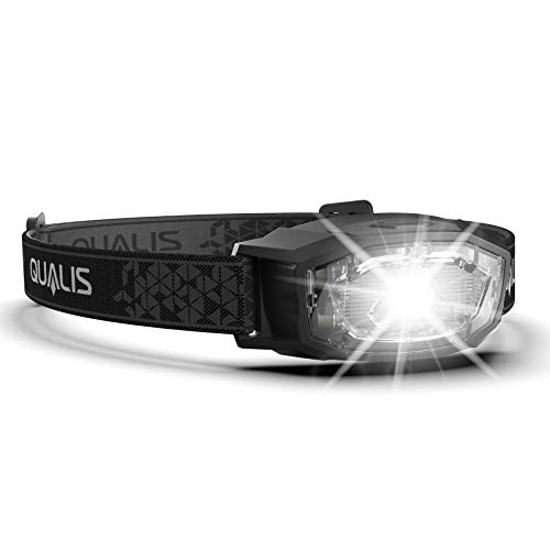 QUALIS Headlamp Flashlight 170 Lumens Super Bright White LED + Red Lights + Smart Memory + 4 Light Modes. Running, Camping, Hiking, Backpacking, Outdoor Head Lamps/Headlight for Adults & Kids (Black)