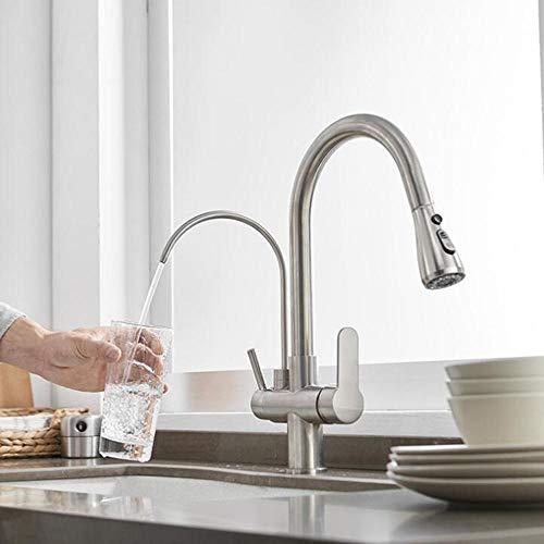 ZPSPZ Grifo de Cocina 3 Vias para Osmosis Extraible Grifo de Agua Pura Calientey Fría Grifo de Cocinay Fregadero Doméstico de 2 Modos-Cepillado