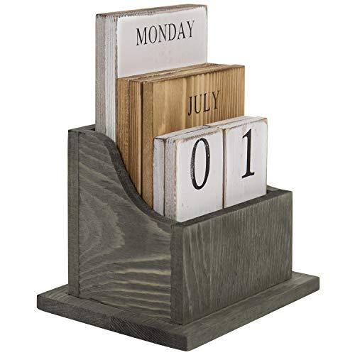 MyGift Ewiger Kalender aus massivem Holz, Vintage-Stil