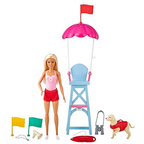 Barbie Socorrista Muñeca rubia con silla de vigilancia de playa de juguete,...
