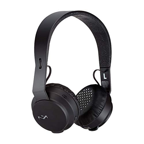 House of Marley EM-JH101-BK Rebel Wireless Bluetooth On Ear Headphones with a Microphone, Black,Large