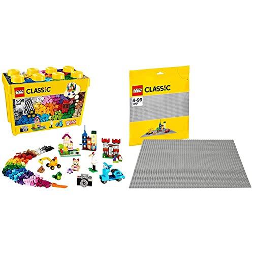 LegoClassicScatolaMattonciniCreativiGrandeSetDiCostruzioniDivertentiContenitoreGiocattoliColorati &ClassicBaseGrigia,GiocattoloPerl'Apprendimento,10701