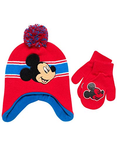 Disney Boys' Mickey Mouse, Car Lightning McQueen Winter Hat & Mittens or Gloves Set (Toddler/Little Boys) Red Mickey Mittens, Age 2-4