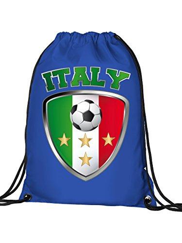 Golebros Italien Italia Italy Fan Artikel 4659 Fuss Ball Turn Sport Beutel Unisex EM 2020 WM 2022 Trikot Look Flagge Fahne Kinder Kids Junge Mädchen Blau
