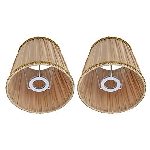 AOER Cubierta de Tela para lámpara, Estilo Simple Dorado sin Reflejos Efecto Pantalla de Estilo clásico para lámpara de candelabro de Tornillo E14