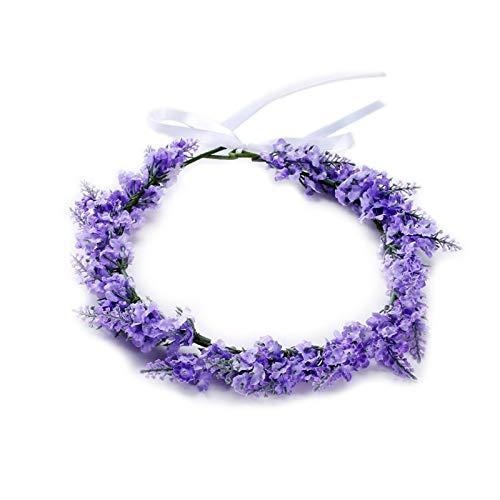 SSB-TOUDAI, Simulé Fleur Bandeau Lavande Floral Bande De Cheveux Guirlande Tiara Couronne Femmes Bijoux Coiffure for la Fête De Mariage Prom Engagemen (Color : Light Purple)