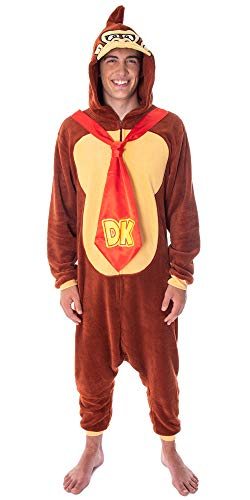 Donkey Kong Adult Microfleece Costume Kigurumi Union Suit One-Piece Pajama Outfit (LG)