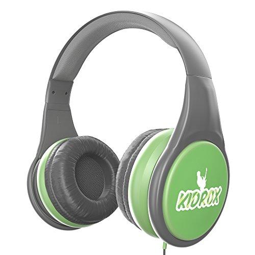 KidRox Auriculares para niños, Auriculares para niños RS4, Volumen limitado y adjustable, Seguro y divertido (Gris)