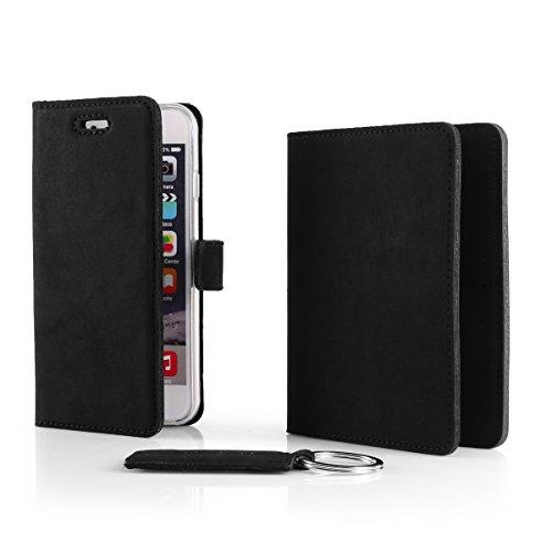 SURAZO® Leder Geschenkset Handy Schutzhülle, Geldbörse, Schlüsselring - Farbe Schwarz Vintage Kollektion für Microsoft Lumia 950 XL