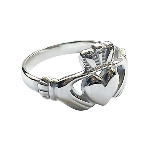 QUALITY UK Sterling Silver Claddagh Ring 11.8mm Unisex Irish Made Approx 3.8g Size P