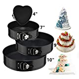 Springform Cake Pan 4 Pieces (4'/7'/9'/10') 1 Heart and 3 Round,Leakproof Nonstick Bakeware Cheesecake Pan with Removable Bottom