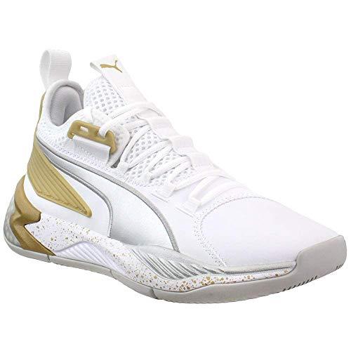 PUMA Uproar Hybrid Court Core - Scarpe da basket da uomo, bianco (Bianco Metallizzato Argento), 38 EU