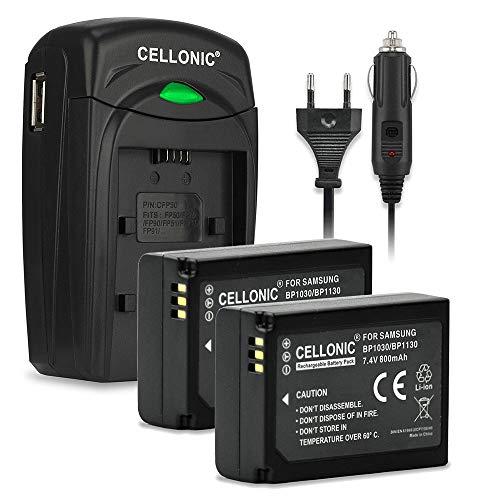 CELLONIC 2X Batería Premium Compatible con Samsung NX500 NX300 NX300M NX1000 NX2000 NX1100 NX200 NX210 NX310, BP1030 / BP1130 800mAh + Cargador BP1030,BP1130 bateria Repuesto Pila