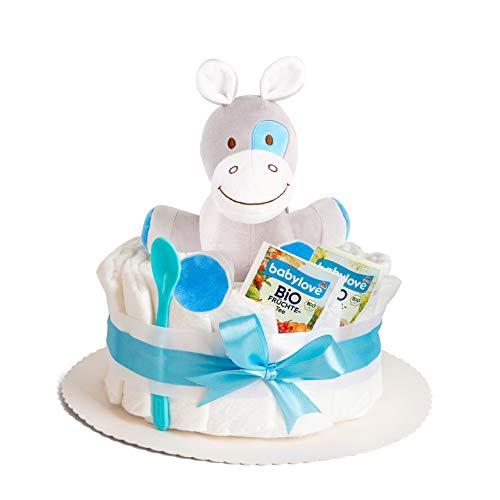 Windeltorte in Blau mit Spieluhr von Homery, perfekt als Geschenk für Jungen zur Baby-Party oder Geburt - Inklusive Glückwunschkarte, Bio Tee und Babylöffel - Handmade fair hergestellt