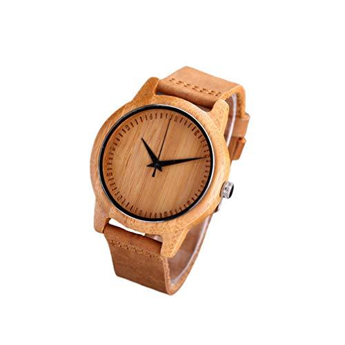 Hemobllo Männer Holzarmbanduhr Pünktliche Oberfläche Tragbare Modische Quarzuhr Handgefertigte Elegante Leichte Uhr Armbanduhr für Abschlussgeschenk