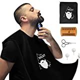 The Neat Guy 5-PIECE Beard Catcher Kit with Beard Apron/Bib for Mess-Free Shaving + Comb + Scissor + Bag, All you Need for a Good, Clean Shave, The Perfect Present for Valentine's Day (Black)