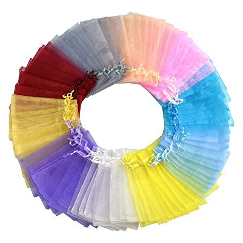 Voqeen Sacchetti Bustine Buste In Organza Regalo Gioielli Confetti Sacchettini Piccoli Multicolore Con Coulisse Per Bigiotteria Bustine Confezione Per Bomboniere Matrimonio Compleanno Festa