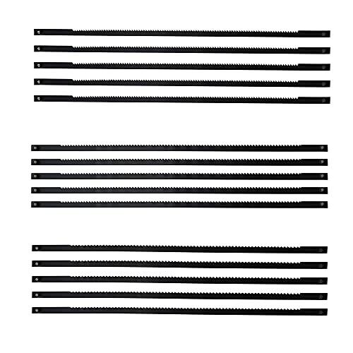 UBERMing 15 Stück Dekupiersägeblätter 127 mm Dekupiersäge Sägeblätter Laubsägeblätter Metall mit Stift 18/21/24 Zähne für Holz Metall Plastik Schneidensägen