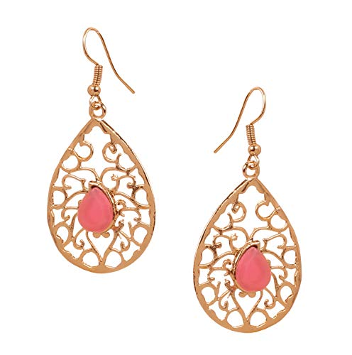 NEW! Touchstone Indian Bollywood Beautifully Hand Peeled Metal Mesh Work Faux Rose Quartz Ravishing Pear Shape Modern Designer Jewelry Light Weight Earrings In Gold Tone For Women.