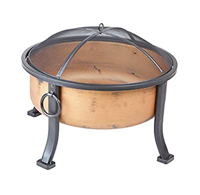 Fire Sense Lumina Round Wood Burning Fire Pit   Copper Finish   24 Inch Steel Fire Bowl   Mesh Spark Screen and Screen Lift Tool Included   Lightweight Portable Patio and Outdoor Heater  