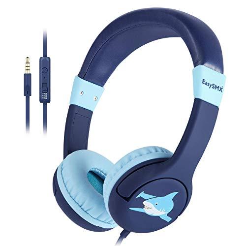 EasySMX Kinderkopfhörer, Ohren verkabelt Leichtkopfhörer mit Mikrofon, In-Line-Steuerung, 80-95dB-Lautstärkebegrenzung, kinderfreundliches ABS, mit 3,5-mm-AUX-Buchse für Kinder