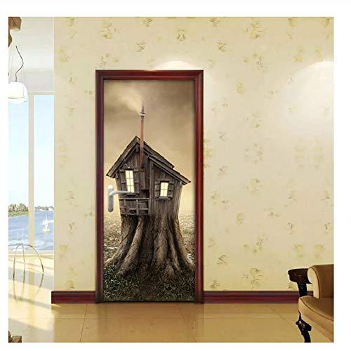 Fantásticacalcomanía de la casa Renovación del hogar Pegar pegatina Imprimir imagen Autoadhesivo Pvc Mural Door Stickers-77X200Cm