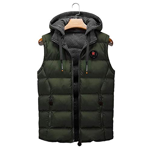 SSDXY Men Hooded Zipper Sleeveless Vest Jacket Coat Casual Winter Warm Outwear Quilted Thicken Puffer with Hood Army Green