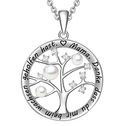 LOVORDS Damen Halskette Gravur 925 Sterling Silber Süßwasser Perlenkette Weiß 3-4mm Kreis Lebensbaum Anhänger Mutter Geschenk für Mama
