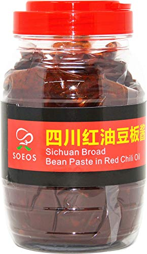 SOEOS Sichuan Pixian Boad Bean Paste with Chili Oil, Hongyou Doubanjiang with Red Chili Oil, Pixian Doubanjiang Chili Paste in Red Chili Oil. (28.22oz Canister)