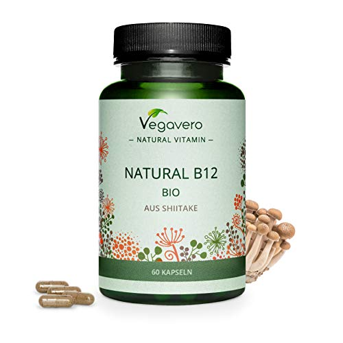 Natural Shiitake Vitamin B12 Vegavero | from Organic Mushroom Extract | No Additives & GMO Free | Fatigue + Energy Metabolism* | 60 Capsules | 100 mcg