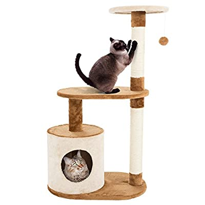 "PETMAKER Cat Tree Condo 3 Tier with Condo & Scratching Posts, 37.5"", Brown & Tan"