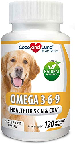 Omega 3 for Dogs - Salmon Oil for Dogs - Itch Relief, Allergy Support, Brain Health, Skin and Coat, DHA EPA Fatty Acids, Immune System Support - 120 Natural Chew-able Tablets