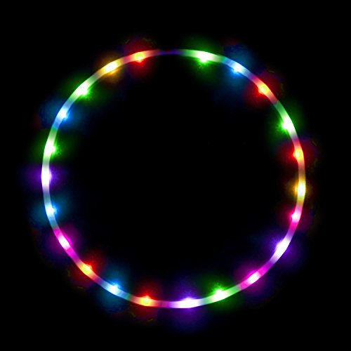 LED Hula Hoop Fully Rechargeable and Collapsable - 28 Color Strobing and Changing LED Lights - Multiple Light Up Hoola Hoops