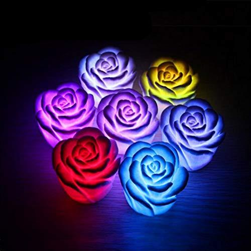 PIXNOR 6 Stück LED Schwimmende Kerzen Rose-Form Bunte Schwimmende Kerzen Teelicht Nachtlicht Flammenlose Kerze Romantische Hochzeit Schlafzimmer Wohnkultur Weiß