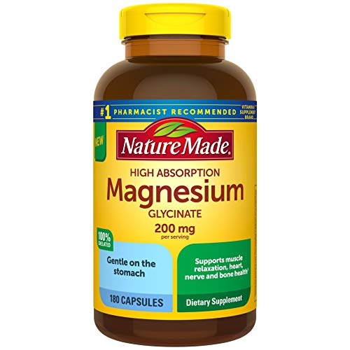 Nature Made High Absorption Magnesium Glycinate 200 mg Capsules for Muscle Relaxation 180 Count