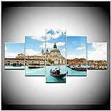 DOAQTE Iglesia Venecia Agua Ciudad Paisaje Pintura de Pared Imagen artística Pintura sobre Lienzo para la decoración del Hotel de Oficina en casa 12X16 12X24 12X32 Pulgadas sin Marco