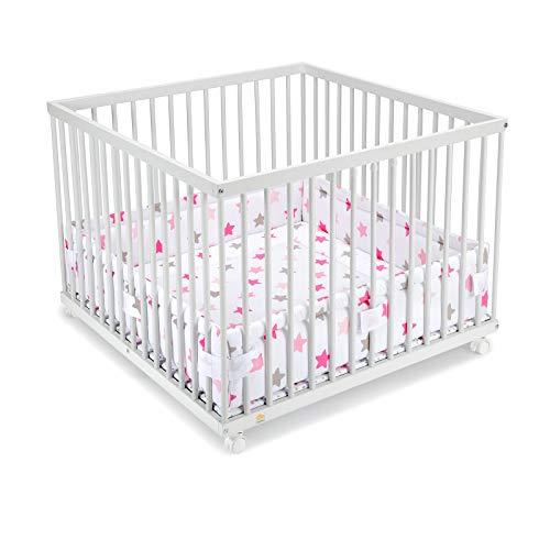 FabiMax Laufgitter 100x100 cm mit Laufgittereinlage rosa Sterne auf weiß, stufenlos höhenverstellbar, Buche, weiß lackiert