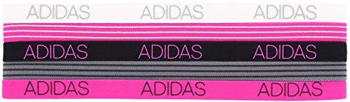 Adidas - Fascia per capelli da donna, 5 pezzi, colore: grigio/bianco/nero/rosa shock, taglia unica
