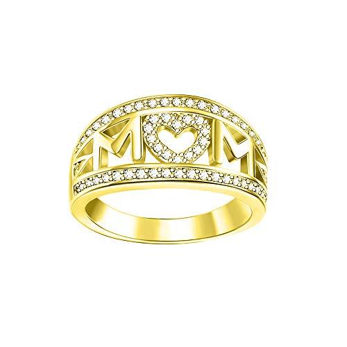 Bofum MOM Heart Ring,Love Mum Diamond Ring Jewelry Best Gift for Mother's Day