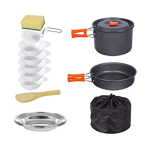 Househome - Olla plegable de cocina al aire libre para camping al aire libre, picnic, barbacoa, conjunto de cocina, batería de cocina para 2-3 personas, picnic
